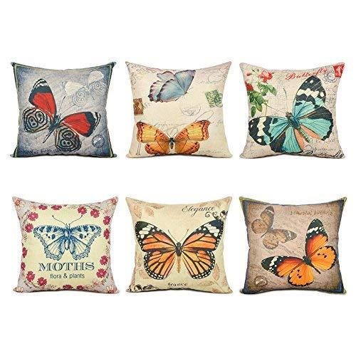 Topfinel Hogar 6 Cojines mariposa patrón lino algodón fundas almohada decorativa para camas sofás sillas cuadrado 45X45cm serie