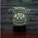 Nachtlichter 7 Farbwechsel Atmosphäre Led Farbverlauf 3D Geburtstagskuchen Modellierung Usb Tischlampe Baby Schlaf Licht Dekor Kinder Geschenke Nachtlichter