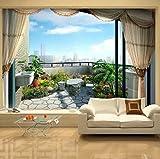 Rureng Benutzerdefinierte Mode Außerhalb Das Fenster Meerblick 3D Wandbild Tapete Persönlichkeit Raum Erweiterung Wohnzimmer Home Decor Wandmalerei