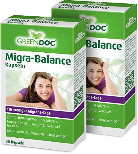 GreenDoc Migra-Balance | für weniger Migräne Tage | bei Migräne | Mikronährstoff-Kombination | 2er Pack: 2x30 Tabletten -