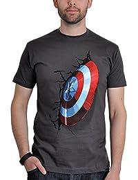 Avengers Captain America T-Shirt Shield Motif Licensed Cotton Gift for Fans Grey