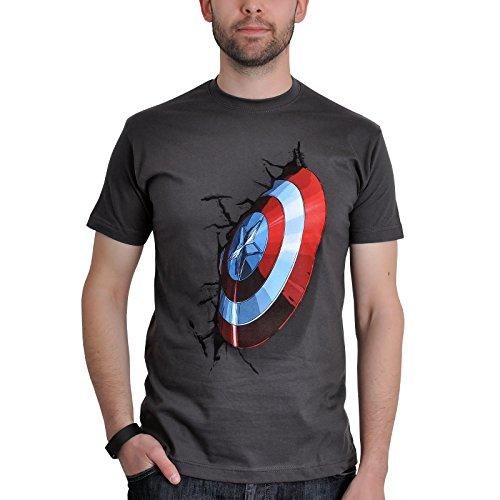 Avengers - T-shirt dell'eroe Capitan America - Motivo Shield - Licenza ufficiale - Regalo per veri fan - Cotone - Grigio - M