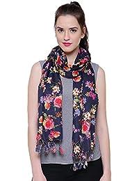 "Fayon Black Vibrant Royal Roses Printed Soft Pashmina Shawls, Scarves, Stoles, Wraps 80""X28"" For Women & Girls"