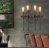 FAFZ-Luces de pared lámpara de pared de agua de desván lámpara de pared de viento industrial retro restaurante creativo lámpara de pared escalera de personalidad pasillo lámpara de pared ( Tamaño : 50*56cm )