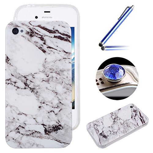 Etsue pour [ iPhone 4/4S ] Doux Protecteur Coque,TPU Matériau Frame est Transparent Soft Cover pour iPhone 4/4S,Marbre Motif par Dessin de Mode Case Coque pour iPhone 4/4S + 1 x Bleu stylet + 1 x Blin Blanc