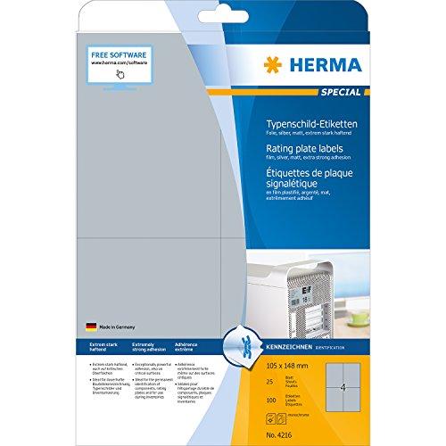 Herma 4216 Typenschildetiketten (A4 extrem stark haftend Folie matt, 105 x 148 mm) 100 Stück silber