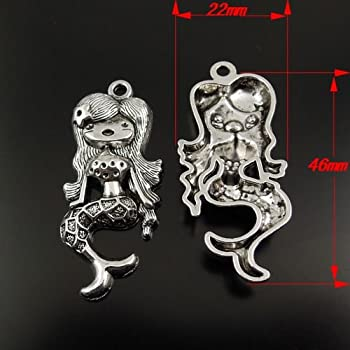 Juliewang 12pcs Vintage Silver Tone Alloy Lovely Mermaid Jewelry Charms Pendant 1