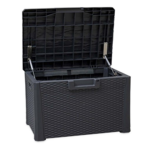 TOOMAX Nevada 120Liter Langlebig witterungsbeständig Mehrzweck-Kompakt Indoor/Outdoor Rattan Finish abschließbar Aufbewahrungsbox (Ecke Toy Box)