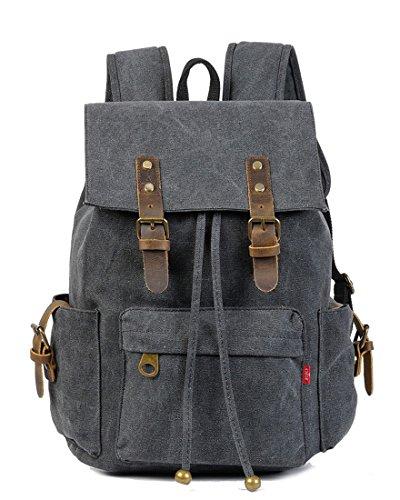 Honeystore Rucksäcke Vintage Canvas Herren Damen Retro Backpack Schulrucksäcke mit Laptopfach Schwarz