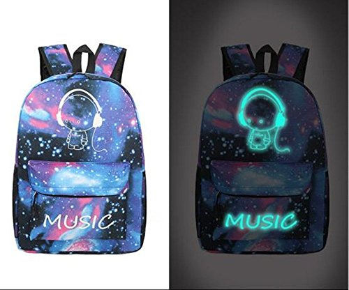 Imagen de unisex universo azul casual  moda galaxy y musica pattern print  bandolera tela oxford  viaje  con fluorescencia alternativa