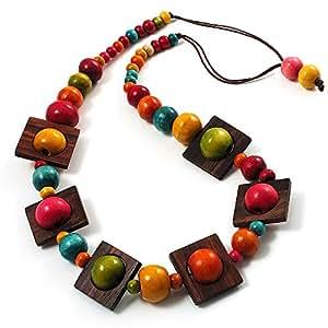 Collier Cordon Coton Perles Bois Carrées Multicolores -76cm