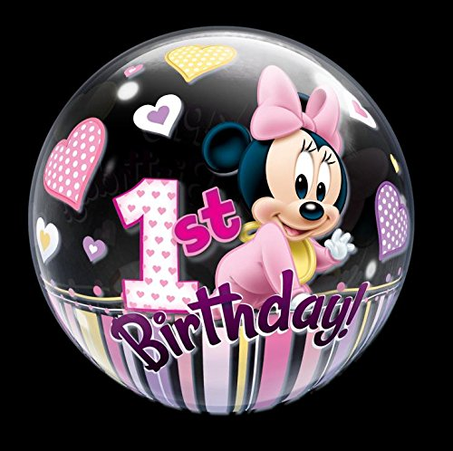 Qualatex 12862 'Single DN Minnie Mouse 1st Bday 1' globo de burbujas, 55,9 cm (22)