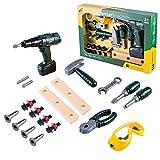 MRKE Spielwerkzeug, 19 Stück Werkzeugkoffer Kinder ab 3 Jahre, Werkzeug Koffer für Jungen