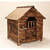 Solid Fir Wooden Chalet Dog Home - Dark Wood Stain Finished with 1 Hinged Door - Perfect Kennel for Small Dogs in the Garden