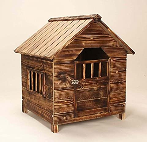 Solid Fir Wooden Chalet Dog Home - Dark Wood Stain Finished with 1 Hinged Door - Perfect Kennel for Small Dogs in the