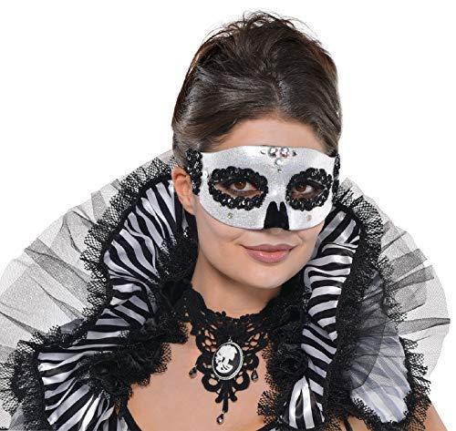Damen Schwarz Weiß Funkelnd Halbschuhe Totenkopf Skelett Augen Maske Halloween Kostüm Kleid Outfit Zubehör (Skelett Halloween Outfit)