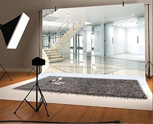 YongFoto 2,2x1,5m Vinyl Foto Hintergrund Sonniger Innenraum mit großem Fenster zur Stadt Büro Fotografie Hintergrund für Fotoshooting Portraitfotos Party Kinder Fotostudio Requisiten