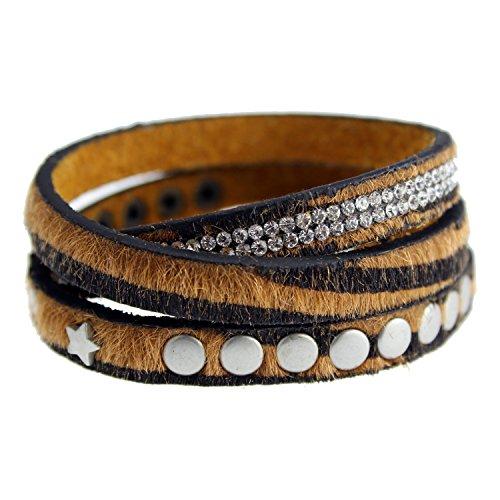 Tiger Wickelarmband Damen Lederarmband mit Nieten & Strasssteinen Fell Armband (Damen Leder Tiger)