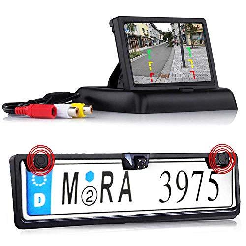 RFK-24 Nummernschild Kabellose Funk Rückfahrkamera mit Parksensor für Nur Hinten inkl. Flip Monitor - Bis zu 5 Jahre Garantie für Auto, Transporter, Wohnmobile und Bus - Rear View Camera Kamera