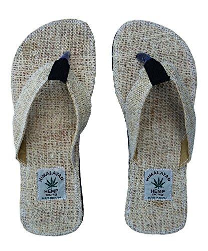 Handgemachte Flip Flops/Sandalen / Zehentrenner mit Fußbett aus natürlichem Hanf - Unisex - Made IN Nepal (38, 39, 40, Natural)