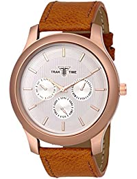 Traktime Analog White Dial With Brown Leather Strap Watches For Men