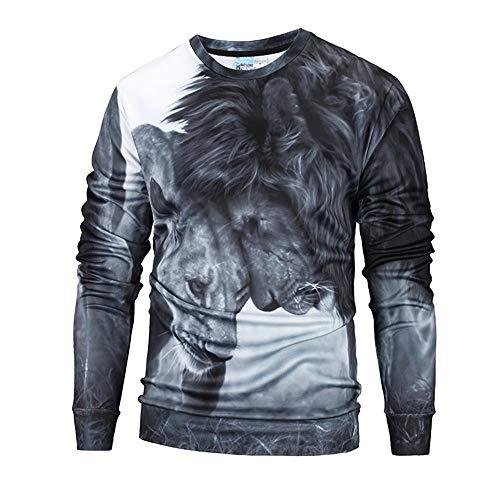 Herren Pullover,TWBB 3D Printing Löwe Sweatshirt O-Neck Lange Ärmel Mantel Outwear Sweatjacke Hemd Bluse
