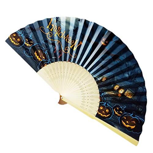 Meilily_Hut Handfächer Halloween Bambus Fächer Chinesisches Abend Party Karneval Hand Fächer Papierfächer Hochzeit Braut Faltbare Fan Tanzen Zubehör Klapp Festival Geschenk Cosplay Wohnzimmer Deko