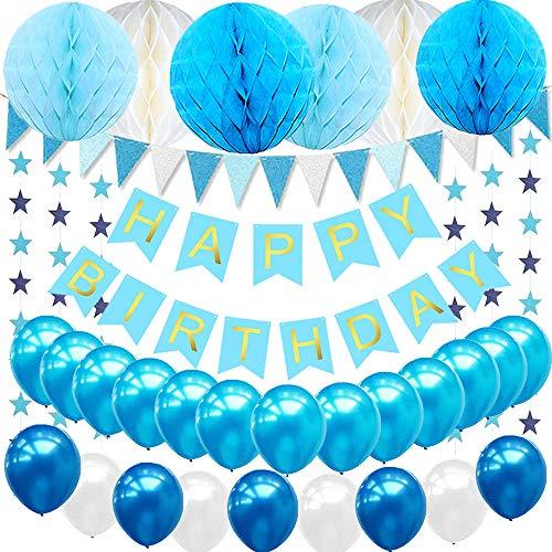 eko Jungen, Geburtstag Dekoration Blau mit 6pcs Wabenbälle, 30pcs Große Geperlte Ballons, 1 Set Happy Birthday Banner, 1 Set Wimpel Banner (Blau) ()