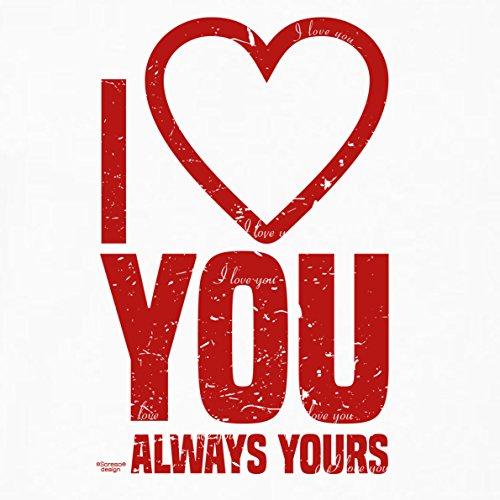 Als Liebesbeweis / T-Shirt Funshirt Girlie für Damen zum Valentin / Geburtstag / VatertagI love you Farbe: weiss Weiß