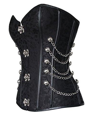 Charmian Women's Spiral Steel Boned Steampunk Gothic Bustier Corset with Chains Schwarz