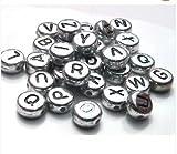 Runfon 100 x 7 mm Plata Letras del Alfabeto Cuentas – (Manualidades – bisutería – bisutería Abalorios de Moda – Accesorios de joyería – bisutería 2s)