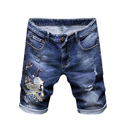 Malloom- Bekleidung Mode Herren Freizeit Individualität Gedruckt Selbstkultivierung Jeans Shorts Trend Denim Shorts Blue S M L XL XXL 3XL 4XL 5XL Blue Denim Bekleidung