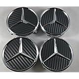 IGGY 4 x Tapones Tapacubos Tapón Logo Mercedes DE 75 mm – Clase A B C E CLK GL