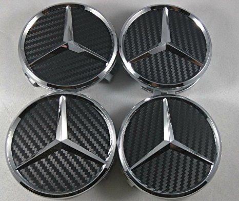IGGY 4x Tappi Coprimozzo Logo Mercedes da 75mm - CLASSE A B C E CLK GL M ML SLK Borchie Cerchi Lega Auto