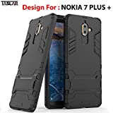 TASLAR Heavy Duty Shock-Absorption Kickstand Feature Hybrid Dual Layer Armor Defender Full Body Protective Back Case for Nokia 7 Plus(Black)