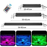 DADYPET Éclairage Aquarium LED, Rampe LED Aquarium, Lumière RGB Aquarium, Lampe Aquarium Plante Supports Extensibles Télécommande Infrarouge, S (25-45CM)