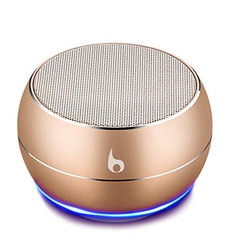 OKE Mini Bluetooth Lautsprecher, Kabellos Tragbar Bluetooth Musikbox, Stereo Klang mit tiefem Bass, Metal Gehäuse, eingebautem Mikrophone für Freisprechen, AUX und MikroUSB Kabel, unterstützt Micro SD Karte (Gold)