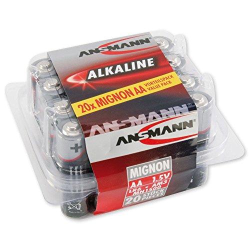 ANSMANN Alkaline Batterie Mignon AA / LR06 1.5V / Longlife Alkalibatterie Sparpaket in einer praktischen Vorratsbox / 20 Stück