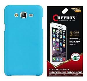 Chevron Rubberized Matte Hard Back Cover Case for Samsung Galaxy On5 with HD Screen Guard (Aqua Blue)