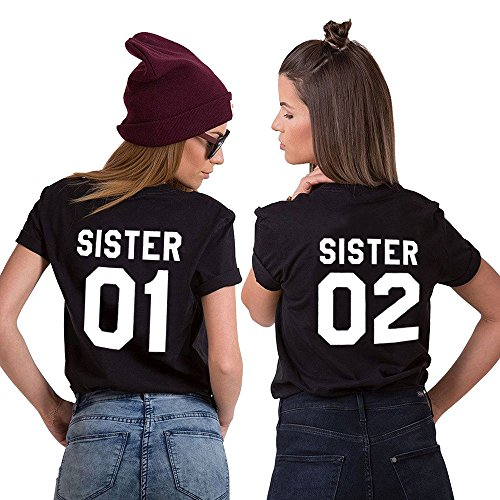 Mejores Amigas Camiseta Best Friend T-Shirt 2 Piezas 100% Algodón Impresión Sister 01 02 Camisa Hermana Manga Corta para Mujer(negro+negro,01-S+02-S)
