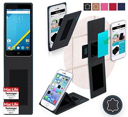 reboon Hülle für Elephone P6000 Tasche Cover Case Bumper | Schwarz Leder | Testsieger