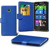 (Blau) Nokia X Custom Designed Stilvolle Accessoires zur Auswahl Schutzmaßnahmen Kunst Credit / Debit-Karten-Leder-Buch-Art Wallet Case Hülle, Retractable Touch Screen Stylus Pen & LCD-Display Schutzfolie von Hülle Spyrox