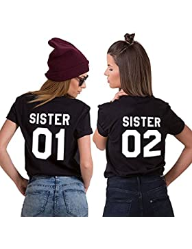 Mejores Amigas Camiseta Best Friend T-Shirt 2 Piezas 100% Algodón Impresión Sister 01 02 Camisa Hermana Manga...