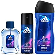 Adidas UEFA V Eau de Toilette, 100 ml + Shower Gel, 250 ml + Deodorant Body Spray, 150 ml