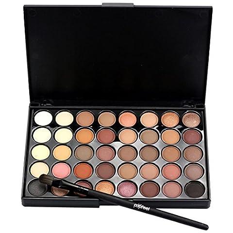 QUINTRA Kosmetik - Matte Lidschatten - Creme - Make - Up Palette Schimmern Hat 40 Farbe + BüRstenset (A)