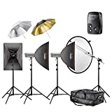 Walimex Pro VC Excellence Studioset Classic 3.3.4 inkl. 2x 300 Watt/1x 400 Watt Studioblitz/Softbox/Reflexschirm/Blitzauslöser/Lampenstativ/Reflektorhalter/Studiotrolley