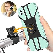 "Shinemefly Bike Phone Holder 360° Rotatable Bicycle Phone Holder Adjustable Universal Silicone Bike Phone Mount Detachable Motorbike Phone Holder Stability Handlebar Stand for 4.7""-7.5"" Smartphone"