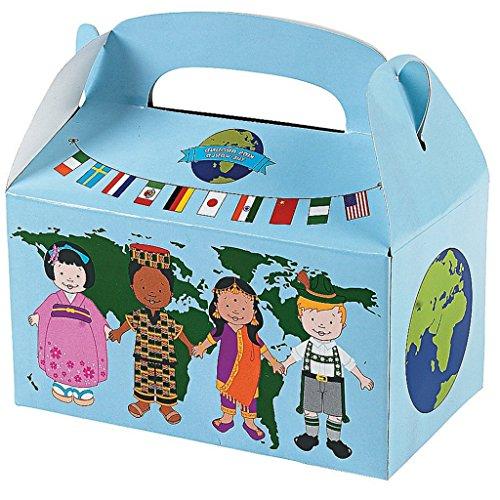 6 x Mitgebsel Geschenkbox Weltfrieden Kinder dieser Welt International Multikulti Geburtstag
