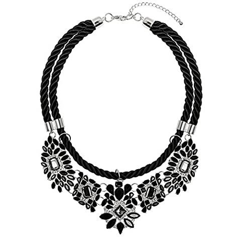 Adorning Ava Statement Jewel Rope Collar Bib Necklace Black Silver Crystal Chunky