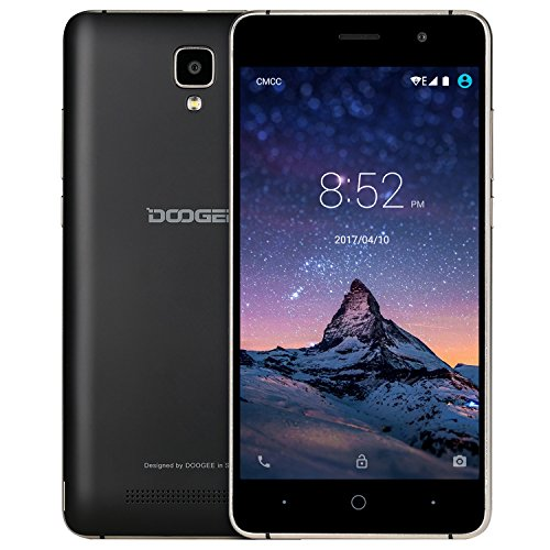 Mobile Phones Unlocked, DOOGEE X10 3G Dual SIM Free Smartphones - Android 6.0 Phone - 5.0 Inch IPS Screen - 3360mAh Large Capacity - 5MP Camera With Flash - MT6570 cortex-A7@1.3 GHz - 8GB ROM - Black